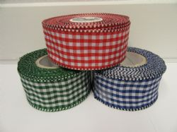 * 2 metres or full roll 38mm White Wired Florist Gingham Ribbon Double sided check stiff edged